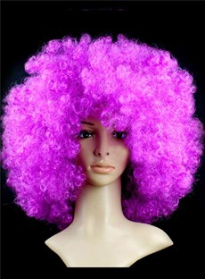 Unisex Fluffy Curly Afro Hair Dark Purple Synthetic Party Wig