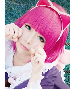 Cute Cosplay Wigs Short Straight Pink Synthetic Hair