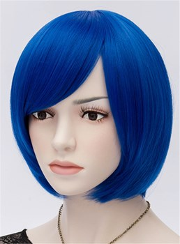 Royal Blue Straight Flapper Bob Cosplay Party Wig 10 Inches