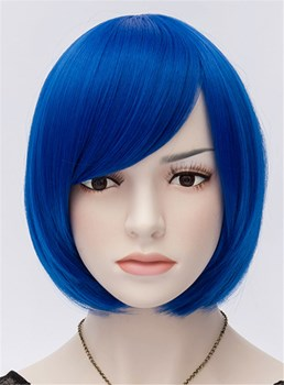 Blu Royal Straight Flapper Bob Cosplay partito parrucca 10 pollici