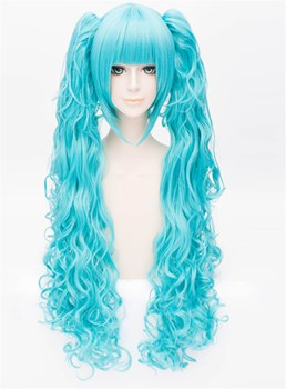 Lolita Style Cosplay Blue Wavy Ponytais Wig 32 Inches