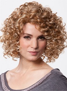 Innovative Medium Curly Blonde 12 Inches 100% Human Hair Wig
