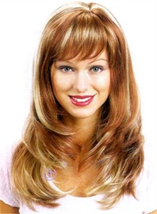 New Style Natural Long Straight 18 Inches Light Cap Soft Layered Cheap Wig