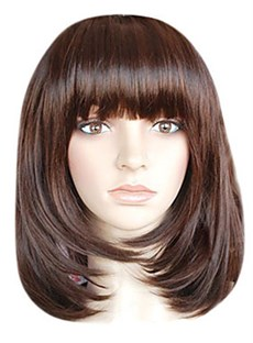 Shoulder Length Bob Style Chocolate Brown Straight High Quality Remy Human Hair Full Lace Wig with Full Bangs 14 Inches