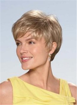 Short Natural Straight Layered Human Hair Capless Wigs