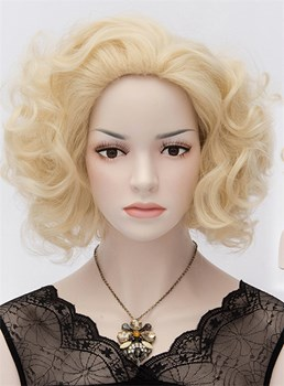 Sexy Marilyn Monroe Short Curly Heat-Resistant Pale Blonde Wig 12 Inches