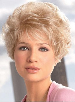 Hot Sale Noble Short Curly Capless Blonde Synthetic Hair Wig