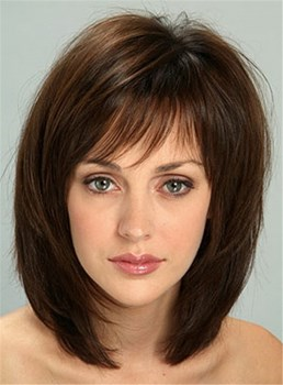 Sweet Shaggy Bob Medium Straight Synthetic Hair Capless Wig 14 Inches