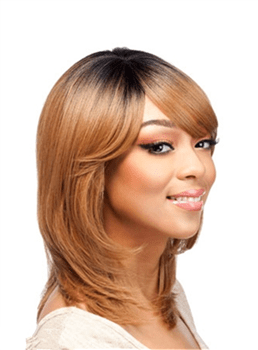 Middle Length Straight Layered Bob Hairstyle Synthetic Capless Wigs 14 Inches