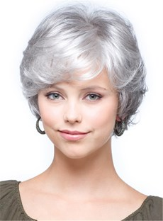 Salt and Pepper Short Natural Wave Capless Synthetic Wigs for Older Women