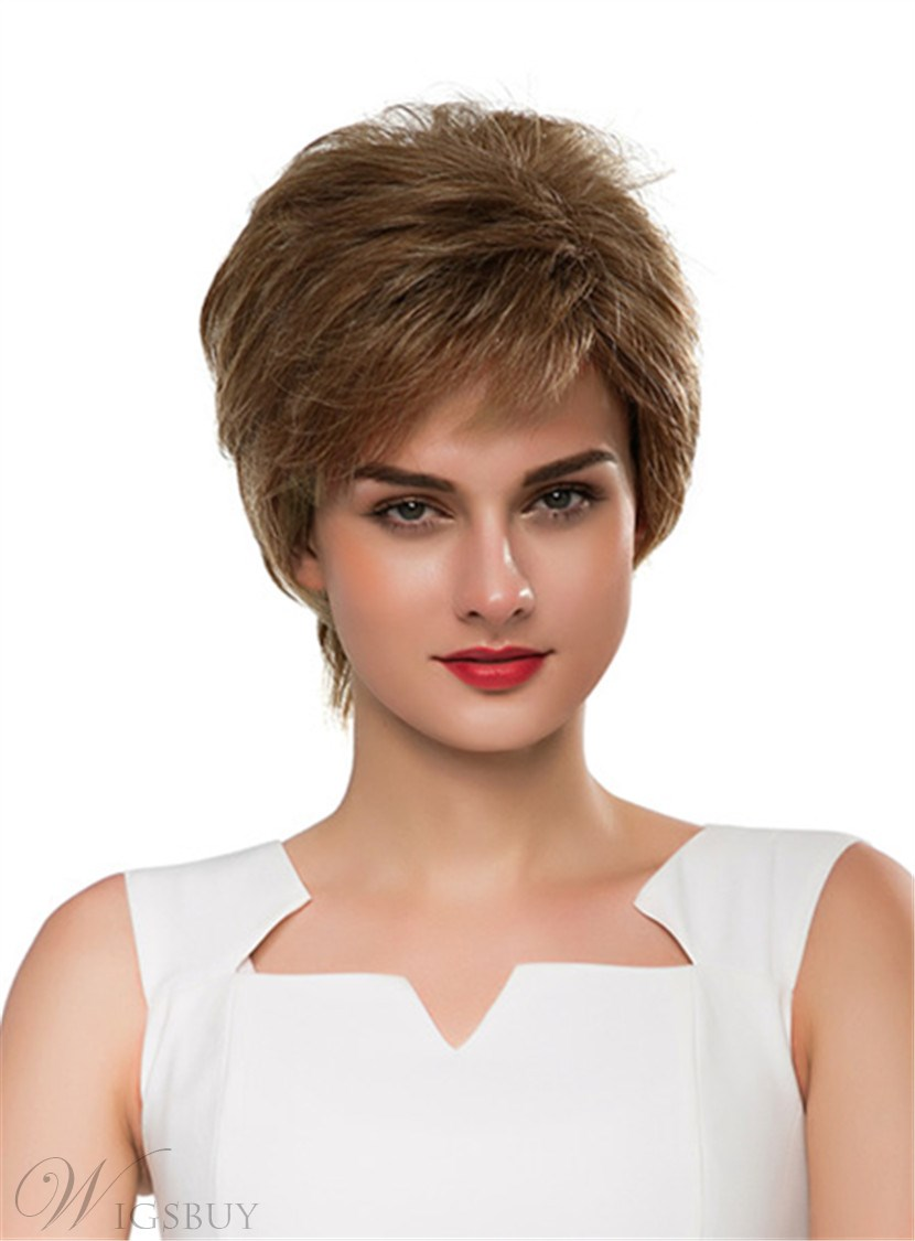 Mishair® Short Straight Layered Cool Human Hair Capless Wig 10 Inches 12690648