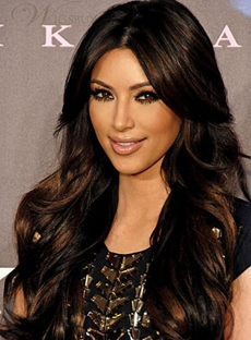 Kim Kardashian Hairstyle Two-Tone Look Premier Charming Long Wavy Synthetic Hair Lace Front Wig 24 Inches