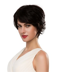 Mishair® Short Curly Nature Black Human Hair Capless Wig 10 Inches