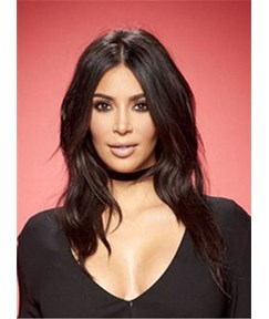 Kim Kardashian Long Loose Wave Middle Part Lace Front Human Hair Wigs 16 Inches