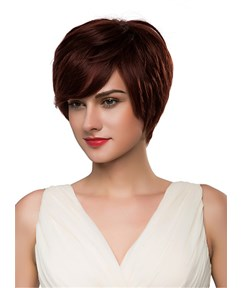 Mishair® Short Cut With Bangs Straight Human Hair Capless Wig 10 Inches