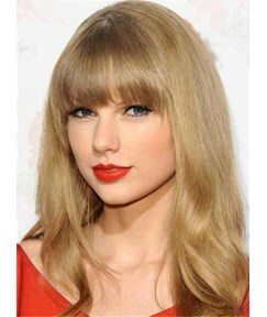 Taylor Swift Long Wavy Hair With Full Bangs Capless Human Hair Wigs 20 Inches