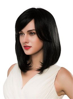 Mishair® Medium Straight With Bangs Human Hair Capless Wig 16 Inches