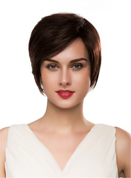 Mishair®Short Straight 100%Human Hair Capless Wig 10 Inches