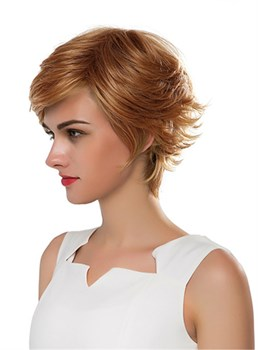 Mishair® Short Wavy Golden Human Hair Capless Wig 10 Inches