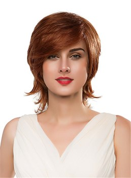 Mishair® Medium Curly Layered Human Hair Capless Wig 14 Inches