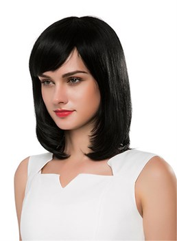 Mishair® Medium Straight Cut With Bangs Human Hair Capless Wig 16 Inches