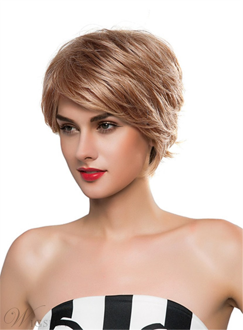 Mishair® Short Straight Layered Human Hair Capless Wig 10 Inches 12690631