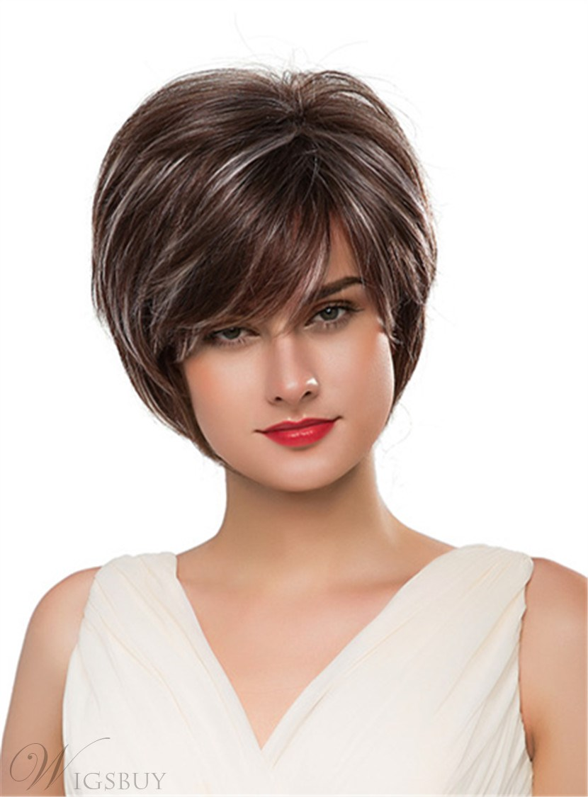 Mishair® Short Straight Loose Layered Human Hair Capless Wig 10 Inches 12690635