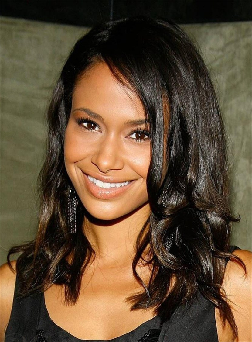 High Quality Inexpensive Stylish Medium Wave Lace Front Wig 100% Real Human Hair 14 Inches
