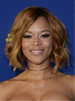 Serayah Bob Style Wavy Mid-Length Synthetic Hair Lace Front Wigs 12 Inches