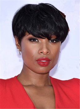 Jennifer Hudson Short Boy Cuts Straight Human Hair Capless African American Wigs 6 Inches