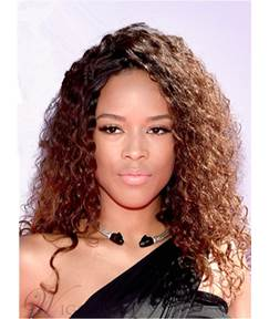 Serayah Mcneill Kinky Curly Long Human Hair Lace Front Cap Wigs 18 Inches
