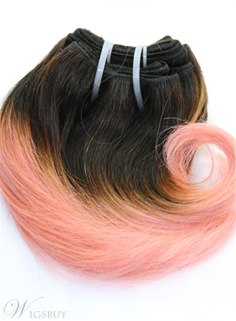 1B/Pink Short Straight Human Hair Weave Hair Extension 8 Inches