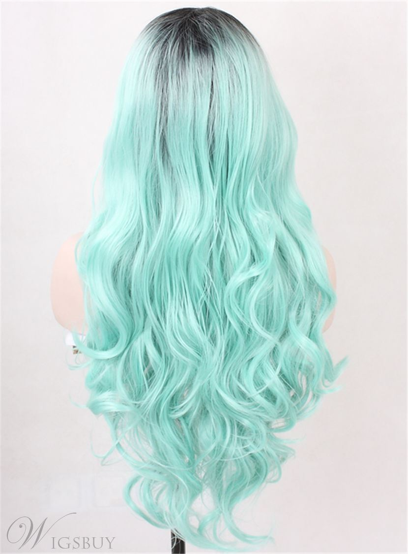 Green Dark Root Long Wave Ombre Synthetic Hair Lace Front Cap Wigs 26 Inches