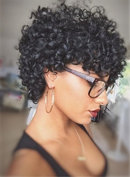 Kinky Curly Pixie Short Tight Coils Synthetic Hair With Bangs Capless Cap Wigs 8 Inches