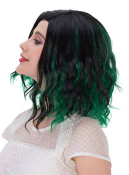 Lob Mixed-Color Green And Black Synthetic Hair Messy Wave Medium Wigs Capless Cap 12 Inches