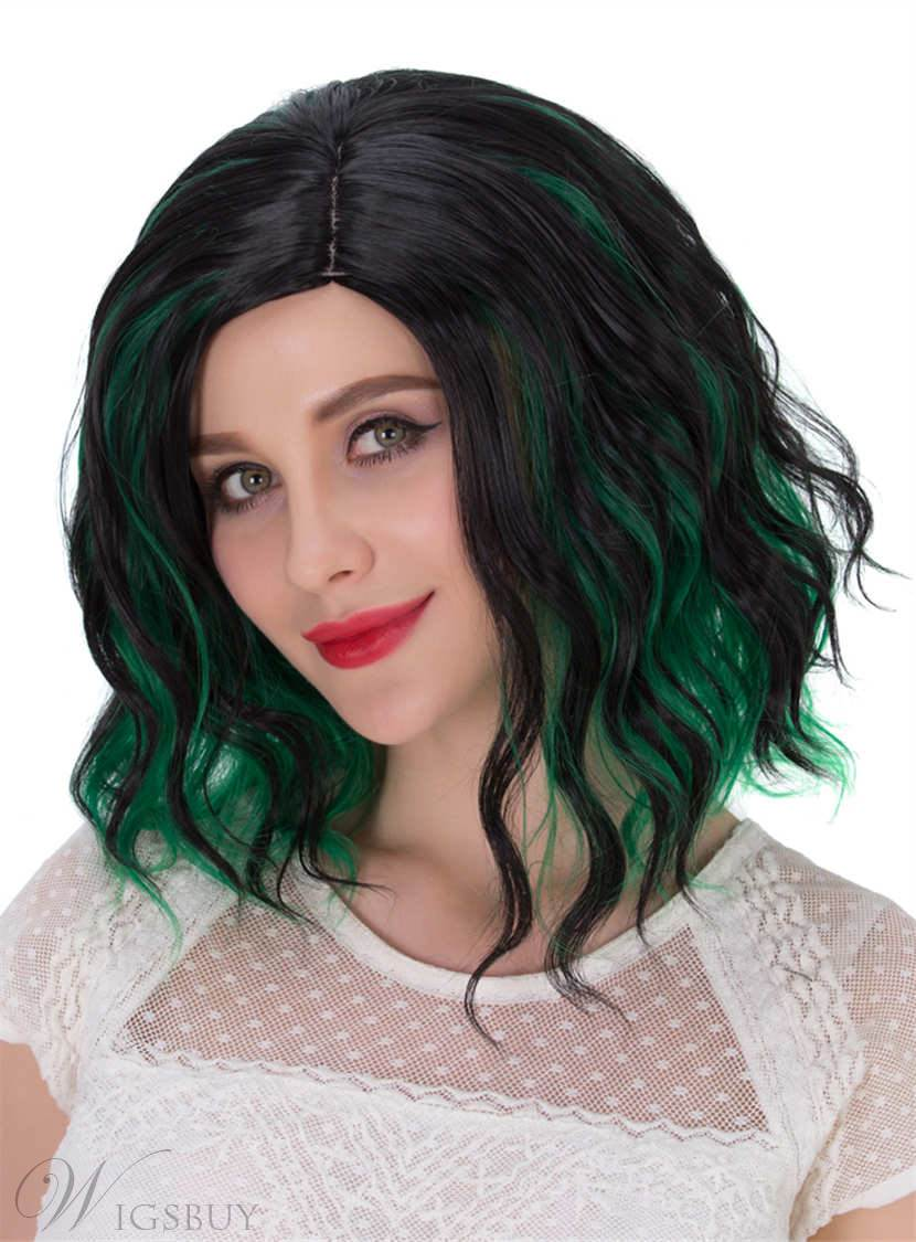 Lob Mixed-Color Green And Black Synthetic Hair Messy Wave Medium Wigs Capless Cap 12 Inches 12812298