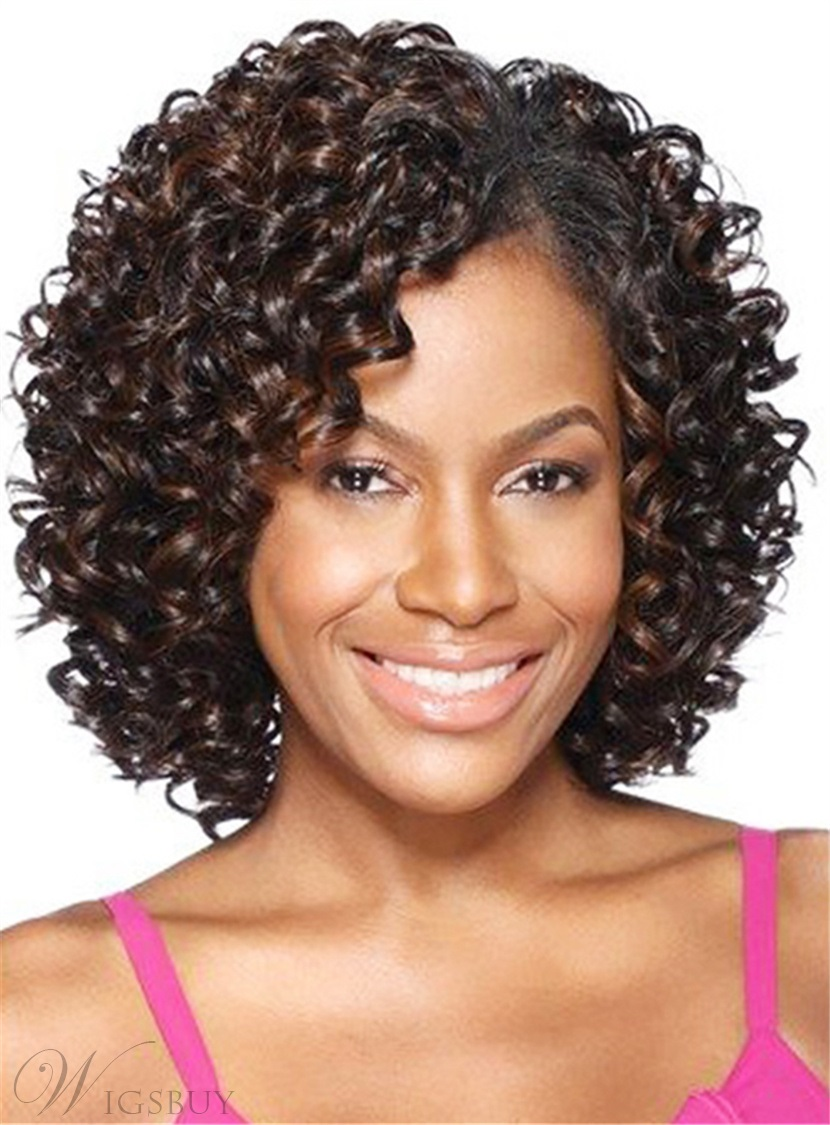 African American Kinky Curly Shoulder Length Synthetic Capless Women Wigs 12 Inches