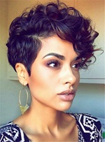Short Curly Sexy Pixie Synthetic Hair Capless African American Wigs 6 Inches