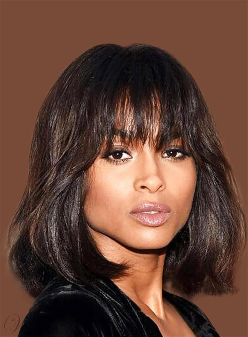 Ciara layered bob cut wave human hair with bangs medium human hair ciara layered bob cut wave human hair with bangs medium human hair capless cap wigs 16 inches urmus Image collections