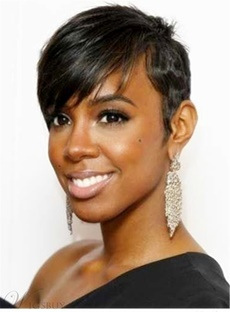 Layered Hairstyle Human Hair Short Capless African American Wigs 6 Inches