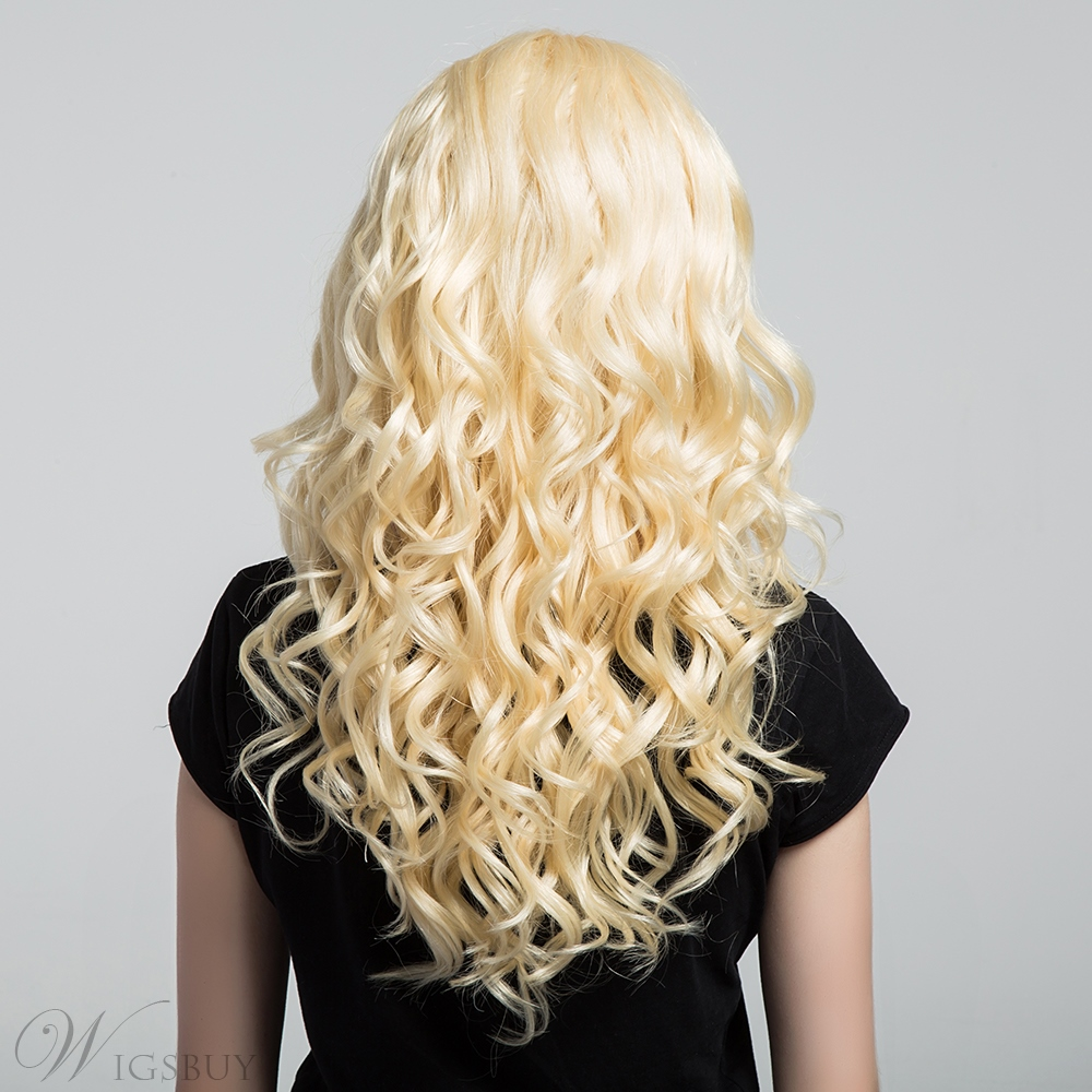 Middle Fringe Long Wave Human Hair Blend Capless Women Wigs 22 Inches