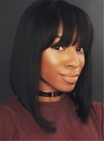 Top Qualit Dark Brown Smooth with Bangs Straight Synthetic Hair Lace Front Cap Mid-Length African American Wigs 14 Inches