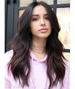 To Part My Hair In The Middle Dark Brown Soft Charming Wavy Long Synthetic Hair Lace Front Women Wigs 18 Inches