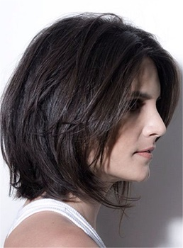 Smooth Carefree Layered Natural Short Tilted Bob Synthetic Hair Lace Front Women Wigs 10 Inches