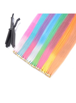 Changes Color As The Temperature Changes Orange Synthetic Straight Hair Extensions