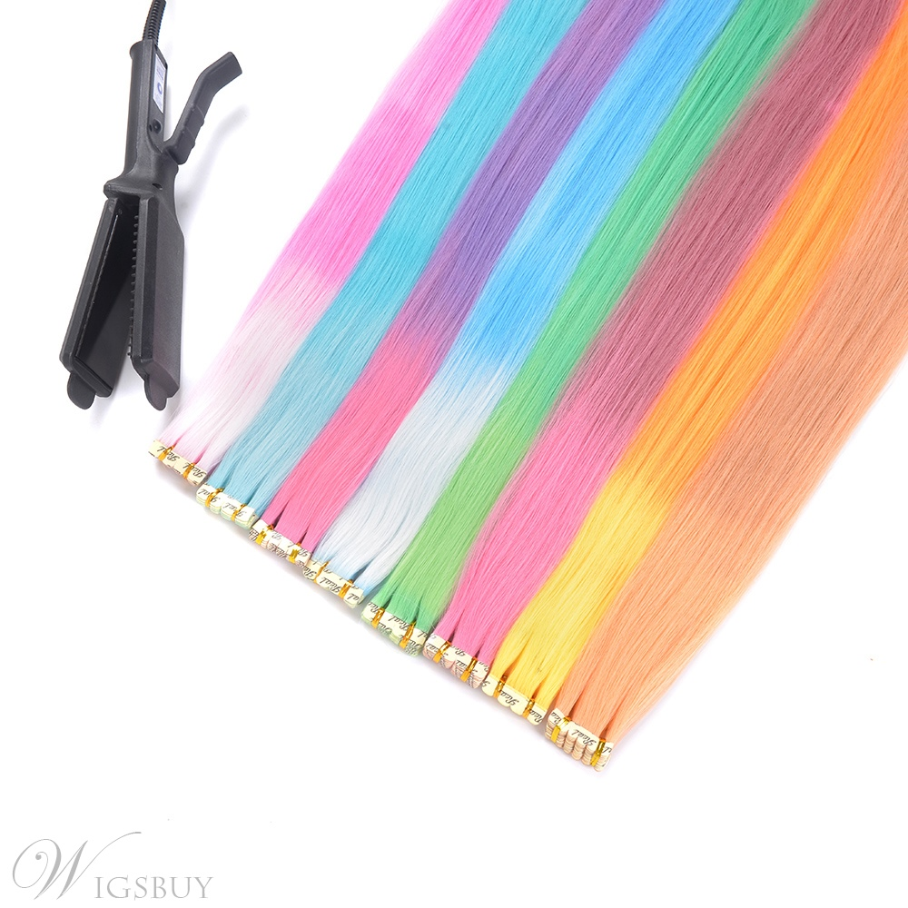 Changes Color As The Temperature Changes Pink Synthetic Straight Hair Extensions