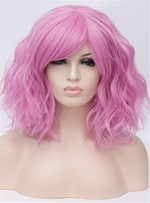 Pink Medium Wavy Capless Synthetic Wig 14 Inches