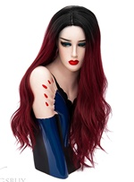 Hot Sale Cosplay Red Brown Long Kinky Curly Synthetic Capless Hair Wig 28 Inches