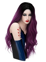 Hot Sale Cosplay Orange Dark Purple Long Kinky Curly Synthetic Capless Hair Wig 28 Inches
