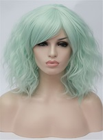 Green Short Wavy Capless Synthetic Wig 14 Inches